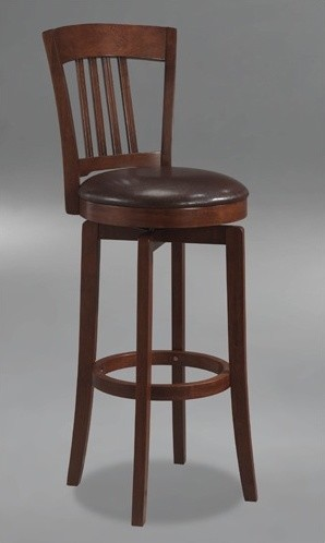 Canton Swivel Bar Height Barstool with Vinyl Seat in Brown modern-bar-stools-and-counter-stools