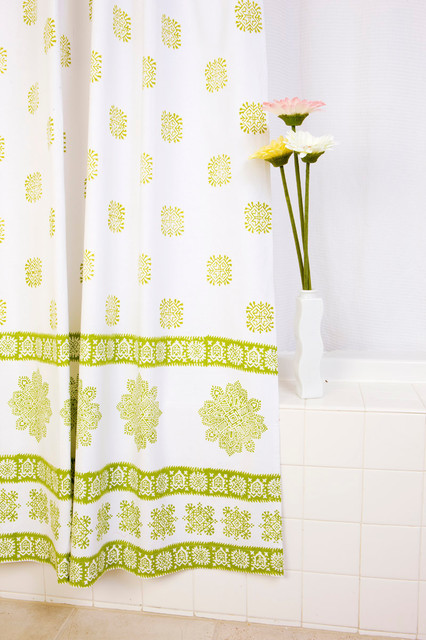 Olive Green Shower Curtain Tropical Bath Products Other Metro By Attiser