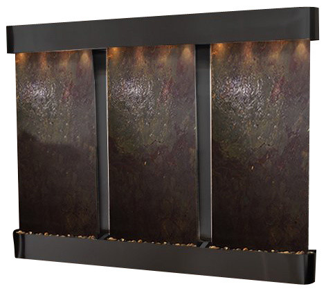 Deep Creek Falls Wall Fountain, Blackened Copper, Multi Color Featherstone, Roun traditional-indoor-fountains