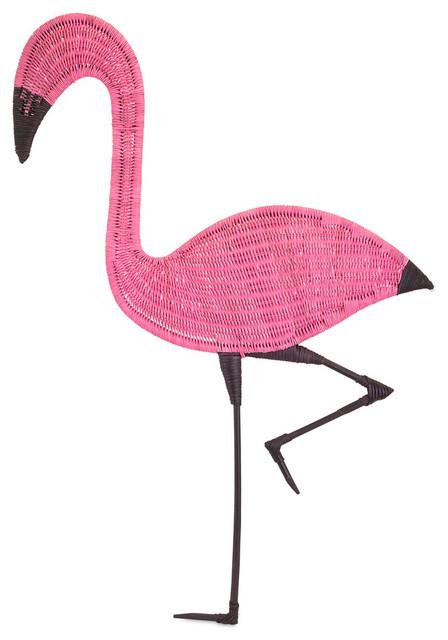 Pink Flamingo Rattan Wall Decor Tropical Wall