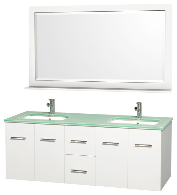 "Wyndham Collection 60"" Centra White Double Vanity w/ Square Porcelain Sink contemporary-bathroom-vanities-and-sink-consoles"