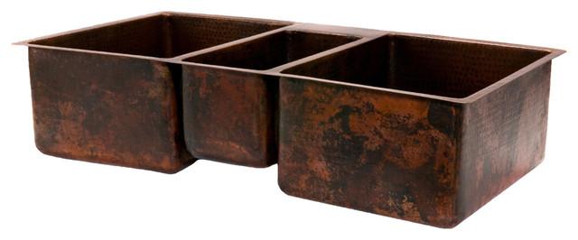 """42"""" Hammered Copper Kitchen Triple Basin Sink rustic-kitchen-sinks"""