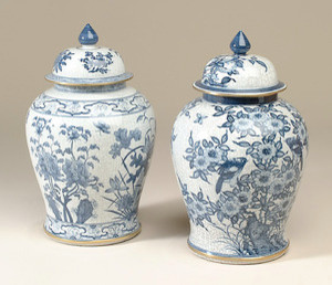 Maitland Smith Hand-Painted Blue and White Crackled Porcelain Temple Jars asian