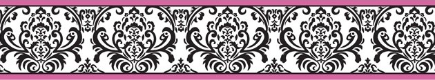 Isabella Hot Pink, Black and White Wall Paper Border by Sweet Jojo Designs contemporary-wallpaper