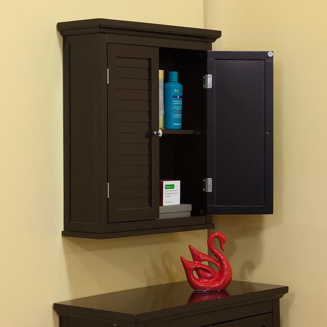 Bayfield Dark Espresso Double Shutter Door Wall Cabinet Contemporary Bath