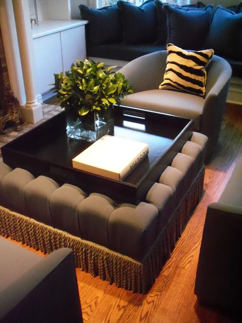 bespoke tufted ottoman + wood tray furniture