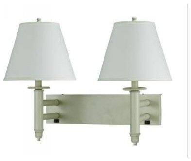 2-Light 60W Wall Lamp w On & Off Toggle Switch in Beige Finish - Contemporary - Wall Sconces ...