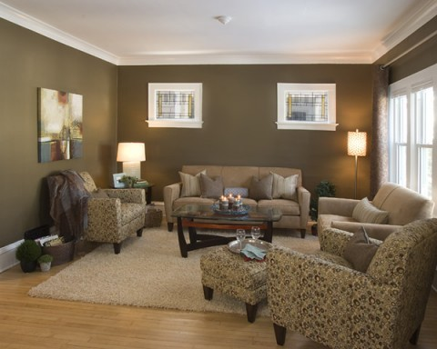 Muted Colors Contemporary Living Room Milwaukee By