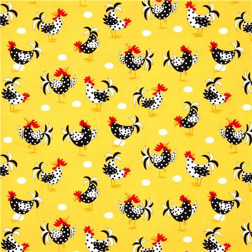 yellow fabric with chicken rooster egg Robert Kaufman Fabric :  fabric from www.houzz.com size 500 x 500 jpeg 97kB