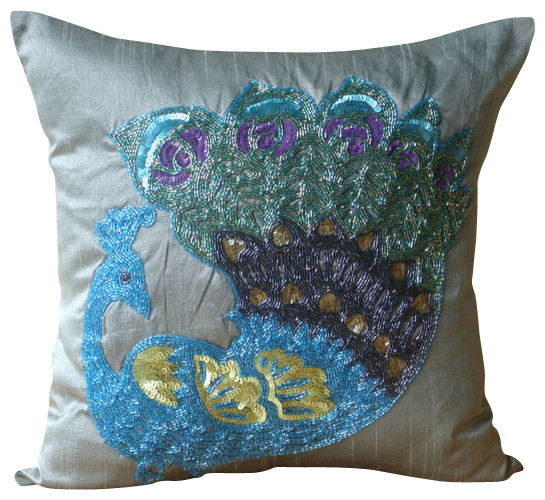 Peacock Blue Throw Pillow : Dancing Peacock Decorative Blue Silk Throw Pillow Cover, 26x26 traditional-bed-pillows
