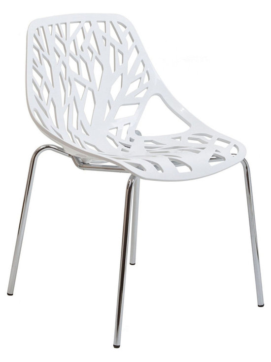 LexMod - Stencil Dining Side Chair in White - Find your inner catalyst with this activating dining chair. Watch as a tree is carefully depicted in Stencil's telling journey between enigmatic forests and song-filled remembrances. Let sunlight filter through and nurture experiences of enduring light.