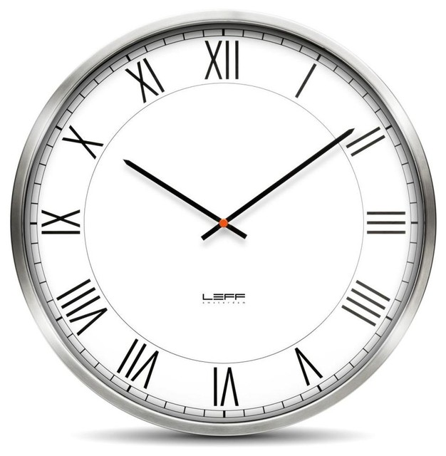 one45 wall clock stainless steel white roman modern clocks by design public. Black Bedroom Furniture Sets. Home Design Ideas