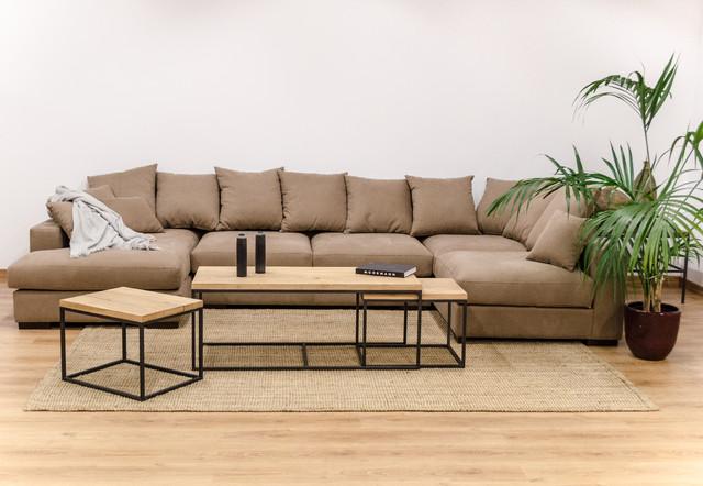 Sal n con sof modular de lino y muebles de madera maciza for Muebles salon modulares madera