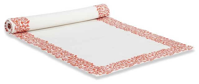 """Scroll Runner, Persimmon, 16""""x72"""" traditional-tablecloths"""