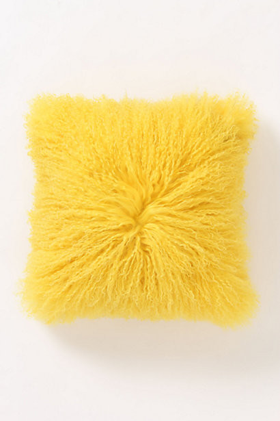 Fleece Flounce Pillow, Yellow eclectic pillows