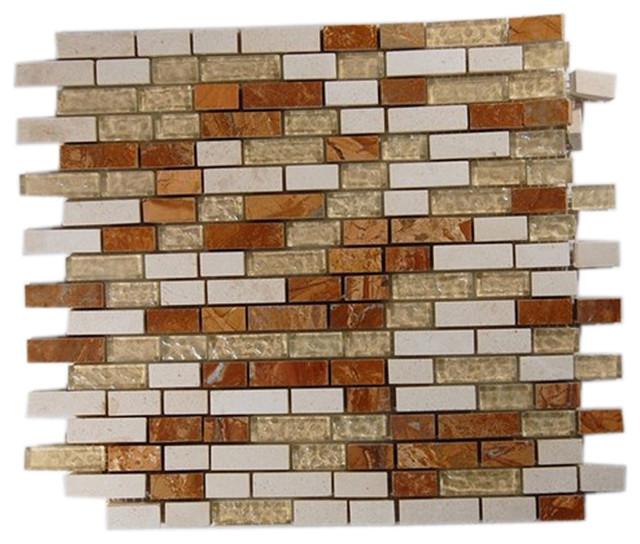 Alloy Series Golden Gate 1/2 X Random Glass & Marble Mosaic Tiles tile