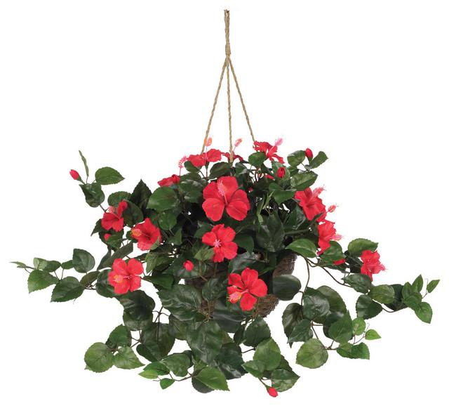 Hibiscus Hanging Basket Contemporary Artificial