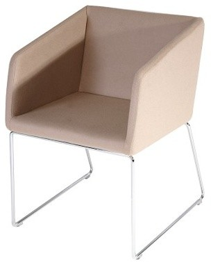 Box Chair, Oslo Brown - 114617, Wire Base Polished Chrome contemporary-living-room-chairs
