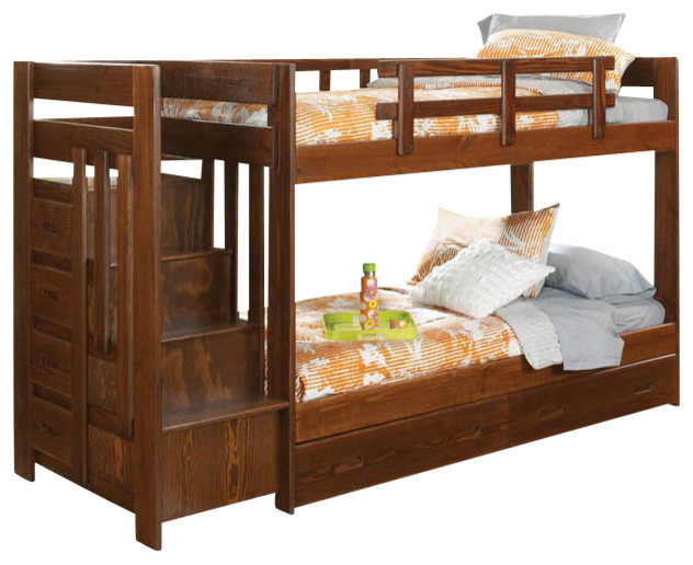Chelsea Home Twin Over Twin Reversible Stair Bunk Bed With