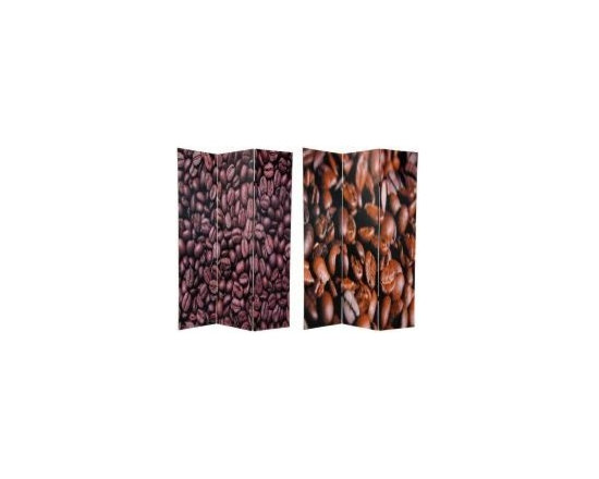 Functional Art/Photography Printed on a 6ft Folding Screen - 6ft tall double sided close up photo of coffee beans in 3 panels.  Coffee house decor