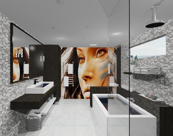 Delightful space with an edgy twist modern-rendering