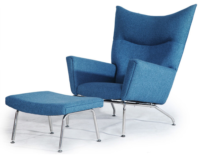 Kardiel Hans J Wegner Style Wing Chair & Ottoman, Azure Houndstooth Twill modern-armchairs-and-accent-chairs
