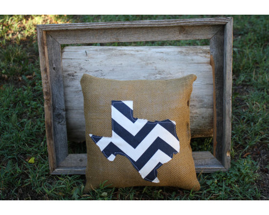 Chevron State Burlap Pillow by iSewBlessed -
