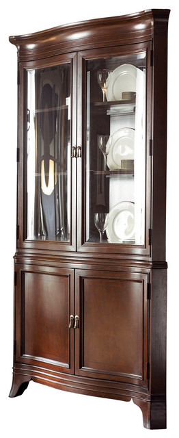 American Drew Cherry Grove Ng Corner China Cabinet In Mid Tone ...