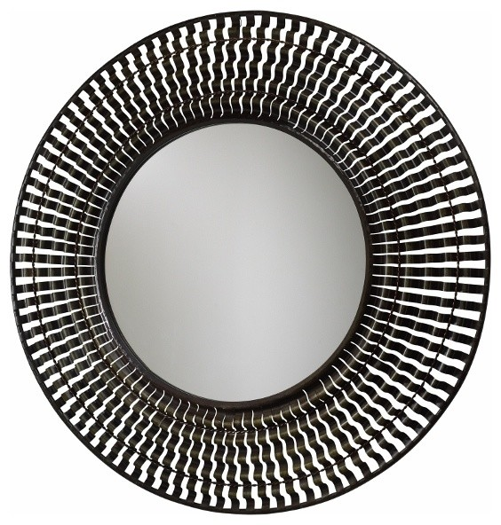 Rustic iron ribbon extra large round mirror transitional for Extra large round mirror