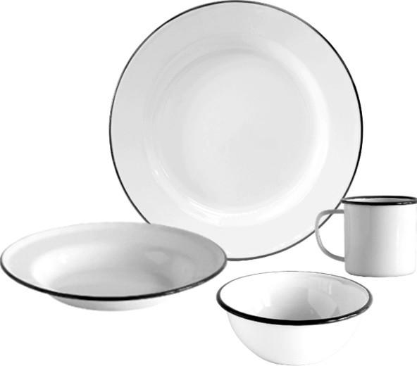 enamelware dinnerware set 16 piece white and black rim traditional dinnerware sets by. Black Bedroom Furniture Sets. Home Design Ideas