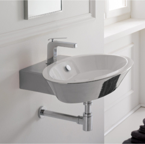 Gorgeous Oval White Ceramic Wall Mounted or Vessel Bathroom Sink contemporary-bathroom-sinks