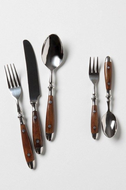 Seaborne cutlery traditional flatware and silverware sets by anthropologie - Flatware with wooden handles ...