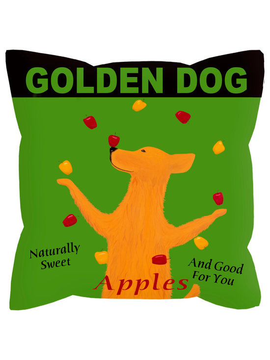 """Golden Dog Apples Pillow - Golden Dog Apples ....... 18"""" x 18"""" pillow with concealed zipper and feather & down insert (95/5). 100% Eco friendly material printed with non toxic, non fading dyes. Front 100% polyester from recycled plastic bottles. Back 65% polyester from recycled plastic bottles; 35% organic cotton. Artwork by Ken Bailey and made in USA."""