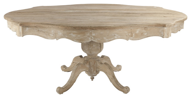 French Country Scalloped Edge Antique White Pedestal