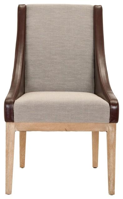 Mcr4500 Armchair Brown Cream Tweed W Brown Leather