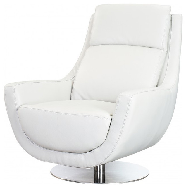 Germany Swivel Chair In White Leather Contemporary