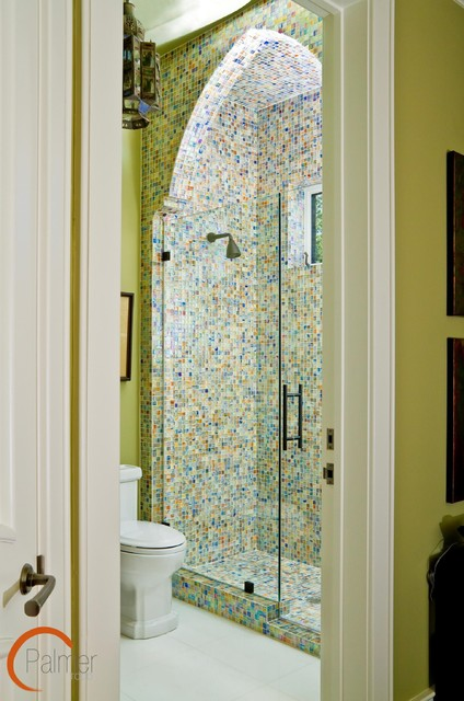 Glass mosaic tile eclectic bathroom tile