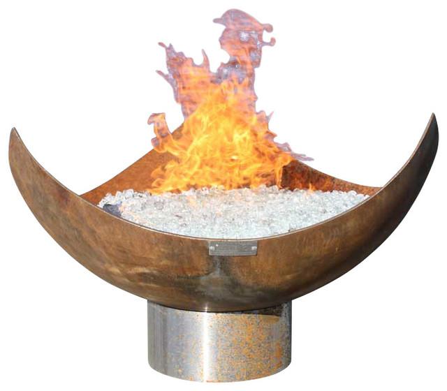 King Isosceles Sculptural Firebowl, 30 Inch Diameter rustic-fire-pits