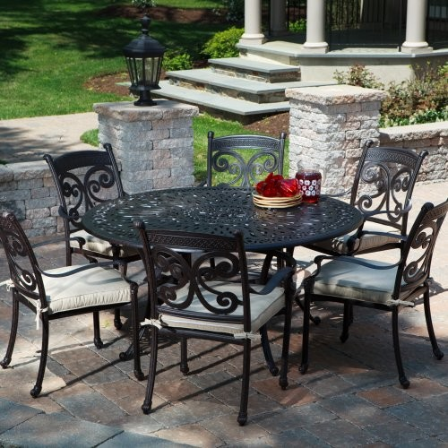 Alfresco Home Farfalla Round Dining Set - Seats 6 contemporary-patio-furniture-and-outdoor-furniture