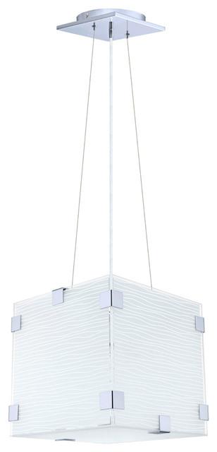 Eglo 91874 Chrome 1X60W Pendanted, Striped Satinated Glass modern-pendant-lighting