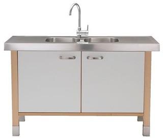 VÄRDE Sink cabinet/sink w double-bowl - Scandinavian - Bathroom Vanities And Sink Consoles - by IKEA
