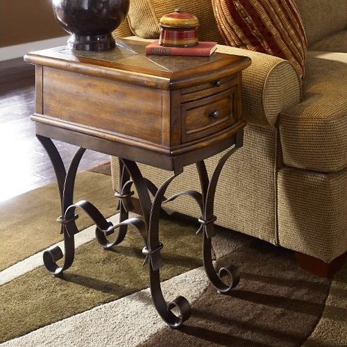Riverside Stone Forge Chairside Table Traditional Side