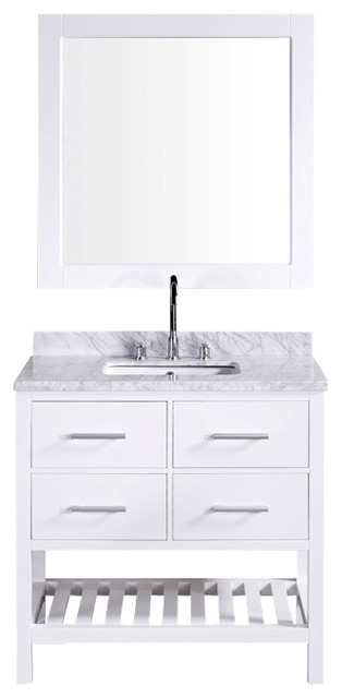 "Design Element London 36"" Single Sink Vanity Set w/ Open Bottom - White contemporary-bathroom-vanities-and-sink-consoles"