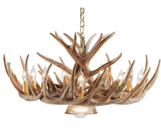 12-antler Cascade Reproduction Whitetail Antler Chandelier with Down Lamp -