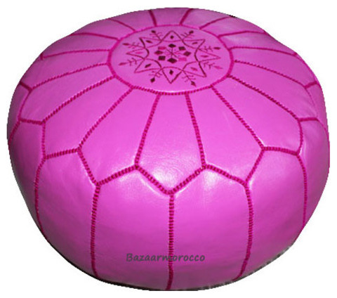 MOROCCAN LEATHER FOOTSTOOL OTTOMAN STYLE LARGE POUF, POUFFE FUSHIA mediterranean ottomans and cubes