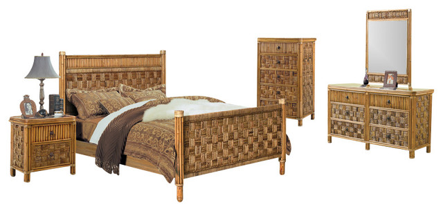 tahiti 5 piece rattan and wicker tropical bedroom set