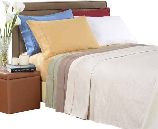 Egyptian Cotton 1000 Thread Count Stripe Sheet Sets Queen White modern-sheet-and-pillowcase-sets