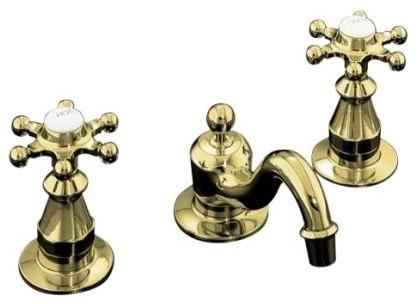Kohler K 108 3 Pb Antique Widespread Lavatory Faucet In Polished Brass Traditional Bathroom