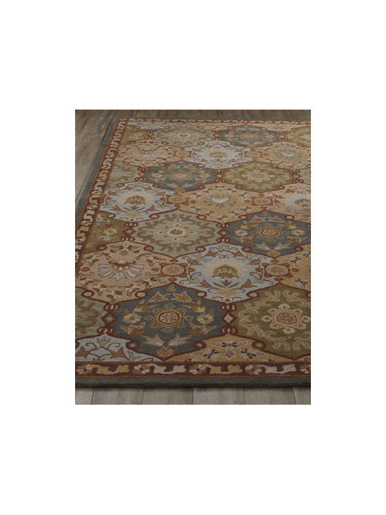 Horchow - Adra Rug, 5' x 8' - Art for the floor, this stunning rug features a traditional panel tile design to bring warmth and color to any interior. Hand tufted of wool. Cotton/latex backing. Size is approximate. Imported.
