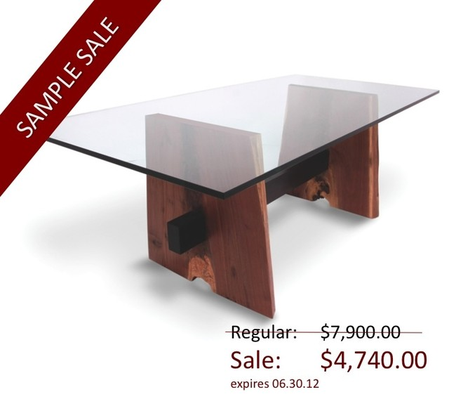 Walnut Base Dining Table – Glass Top contemporary dining tables